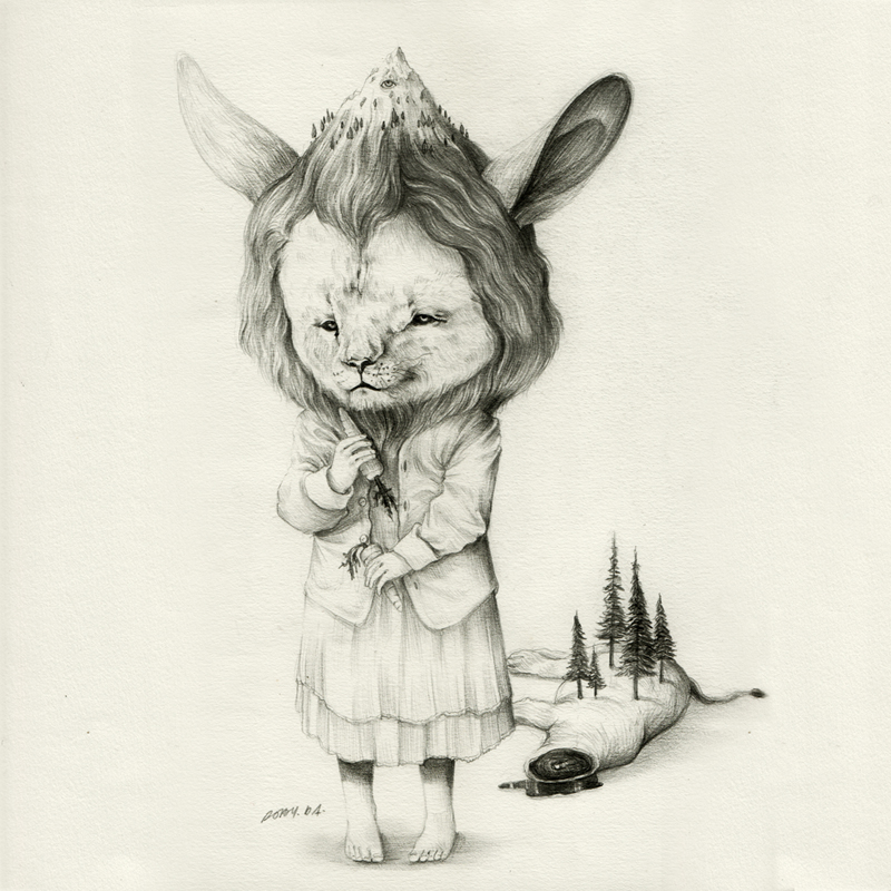 Roby-Dwi-Antono-Tentang-Singa-dan-kelinci-Pencil-on-paper-27.5-x-27.5-cm-2012