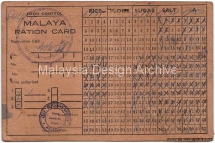 12. 1953, Malaya Ration Card.