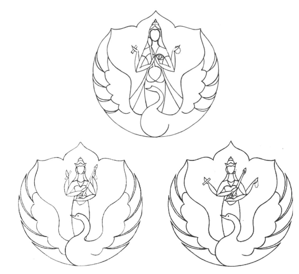 Rancangan awal lambang ISI Yogyakarta setelah mendapat masukan dari Pak But. Atas karya Drs. Parsuki , kiri dan kanan bawah karya Drs. Subroto Sm. (dok: Subroto, Sm.)