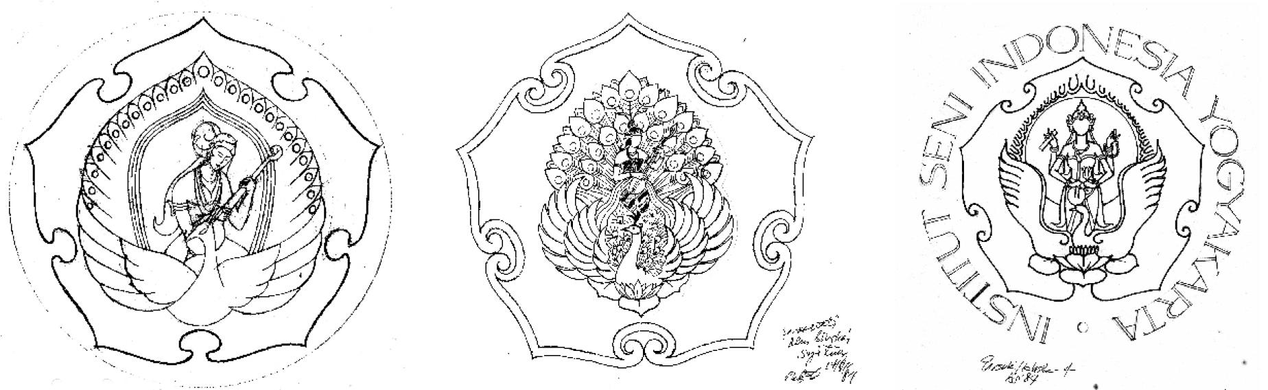 Tiga rancangan awal lambang ISI Yogyakarta, bergaya klasik karya Drs. Aming Prayitno, Drs. Subroto Sm dan Drs. Parsuki  (dok: Subroto, Sm.)