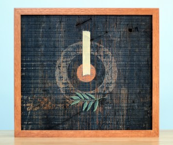 "Absolute: Centered, Oil on reclaimed red oak barn wood. 14 3/4"" x 13"". 6.10.15."