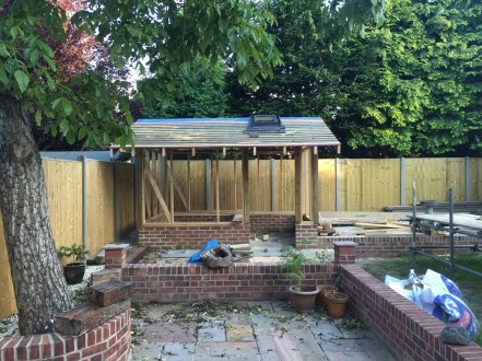 Complete landscaping. Summer house being built