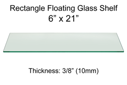 Rectangle Floating Glass Shelf 6 x 21