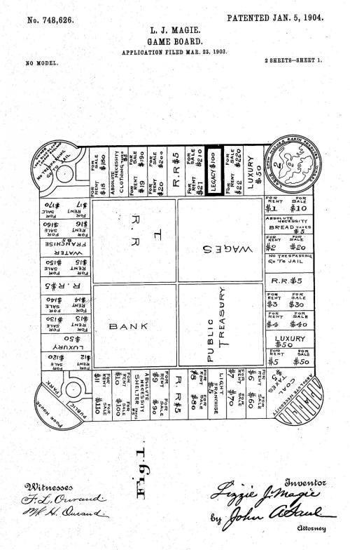 small resolution of the landlord s game designed by elizabeth magie and patented in 1904 and monopoly patented by charles darrow in 1935 parker brothers bought the game