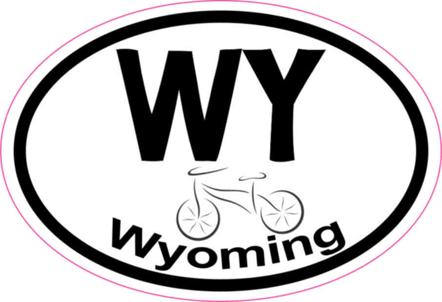 3in x 2in Oval Wyoming Bicycle Sticker Vinyl State Vehicle
