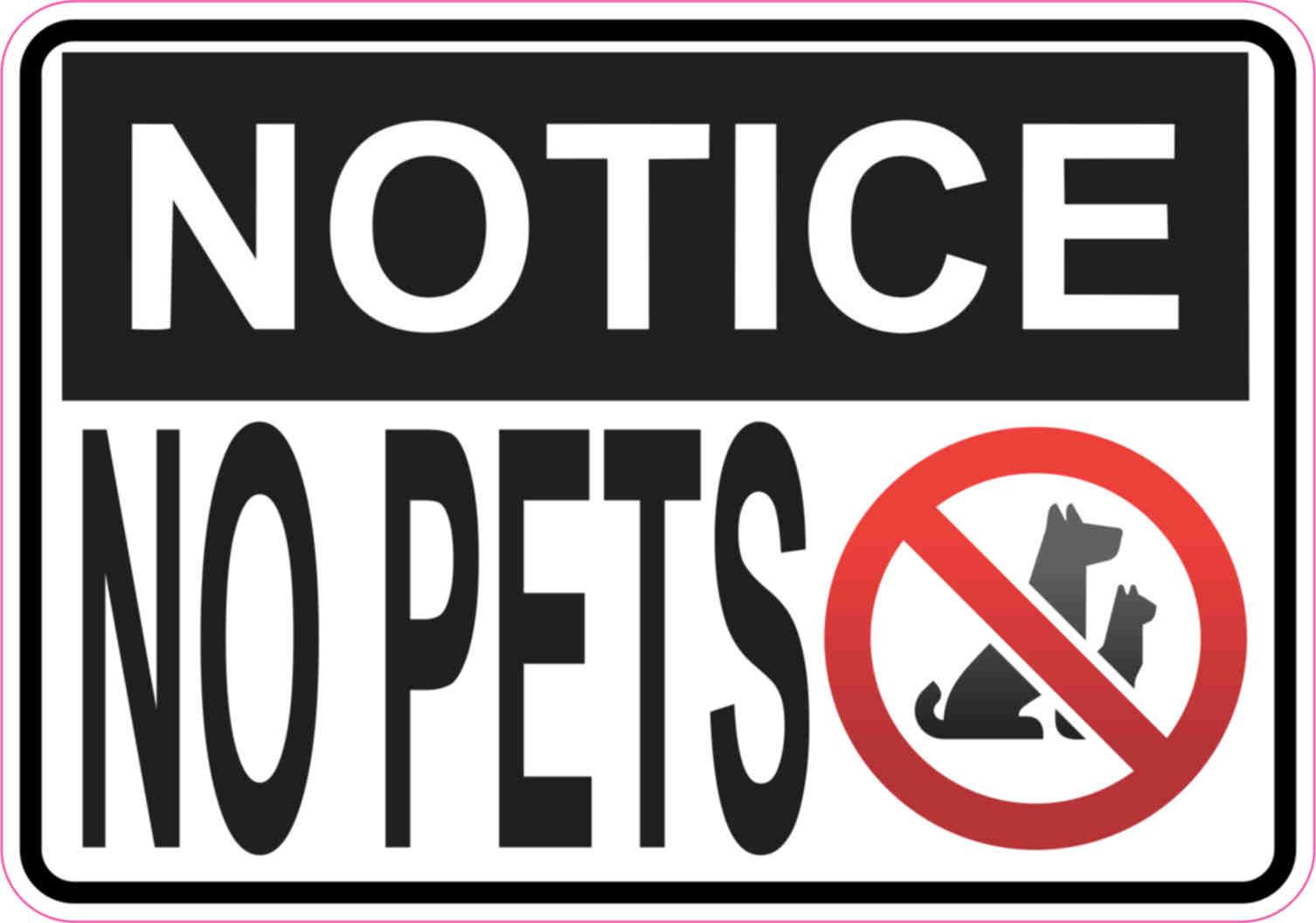 5in X 3 5in No Pets Sticker Vinyl Sign Business Door Signs