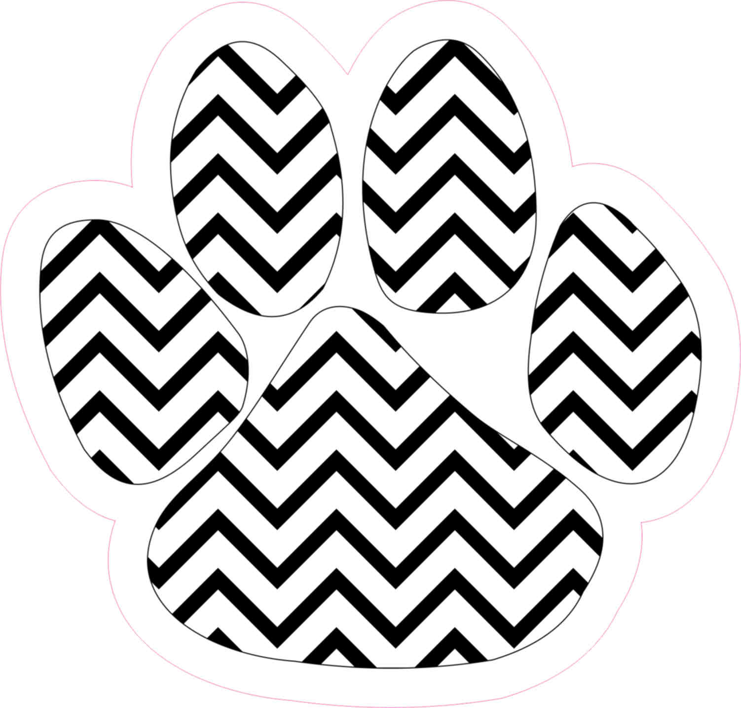 4 75in X 5in Black And White Chevron Paw Print Bumper