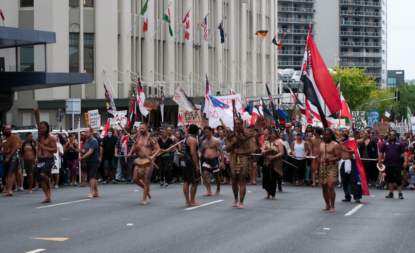 Photo: Maori protests on February 4th signing of the TPP in Auckland, New Zealand. Photo by Dominic Hartnett