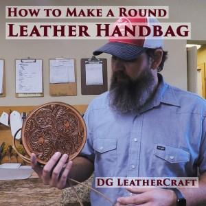 round leather handbag
