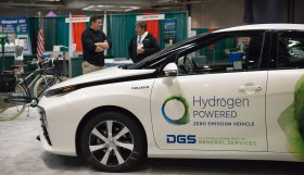 DGS staff showcase the Toyota Mirai, a zero-emission vehicle available on contract for state agencies.