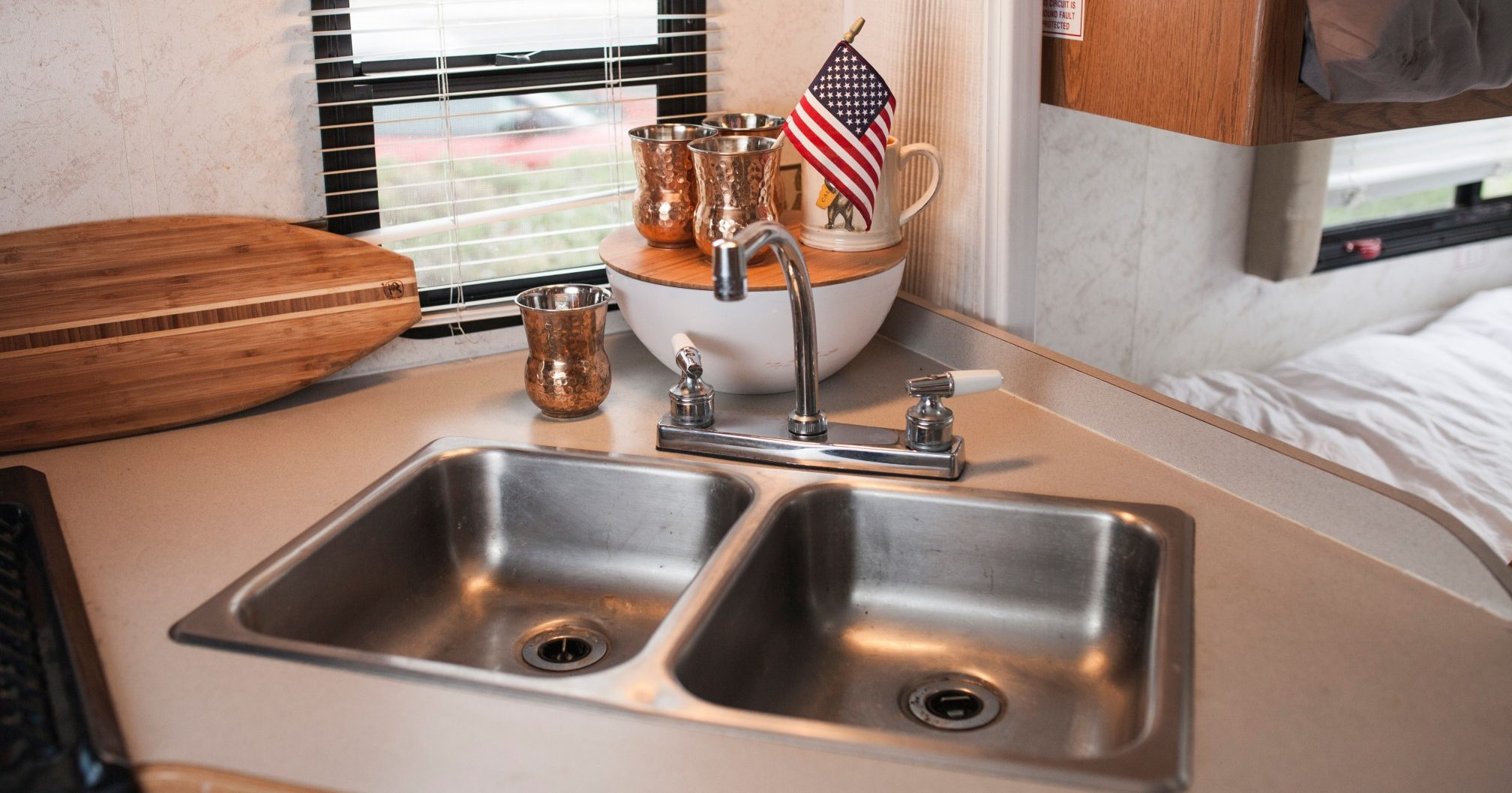 rv kitchen sinks hardwood cabinets your everything you need to know never idle journal kitchens
