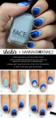 mani monday blue chevron nail