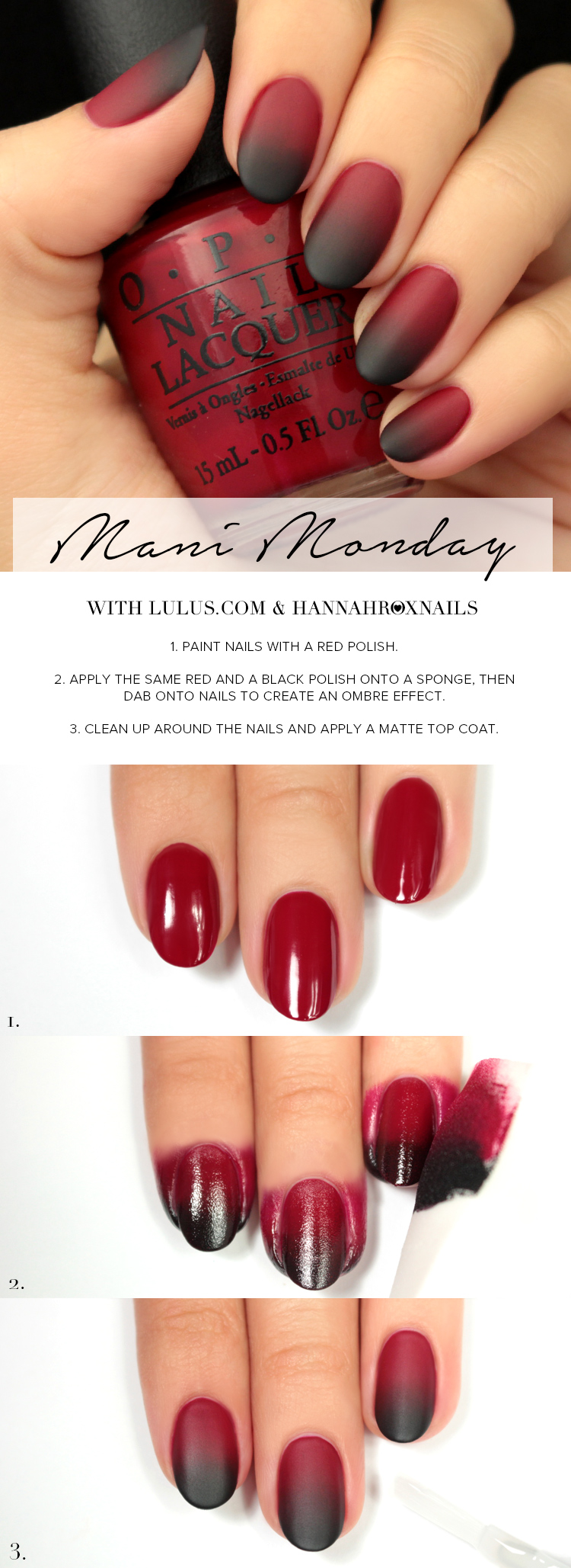 Black Red Ombre Nails : black, ombre, nails, Monday:, Black, Ombre, Tutorial, Lulus.com, Fashion