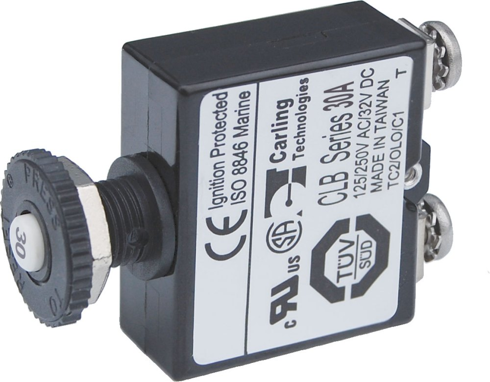 medium resolution of terminals wiring 30 amps push button reset only screw terminals resettable circuit breaker in car