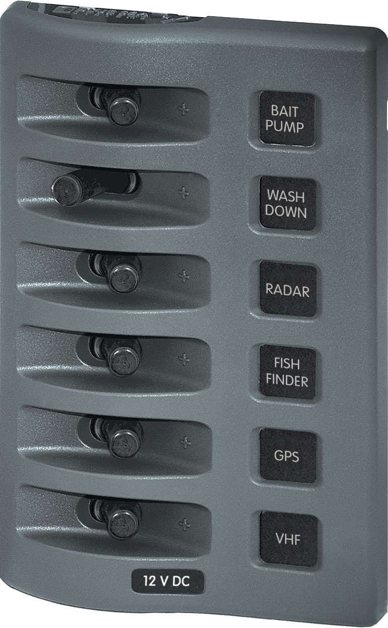 medium resolution of weatherdeck 12v dc waterproof switch panel 6 position blue sea