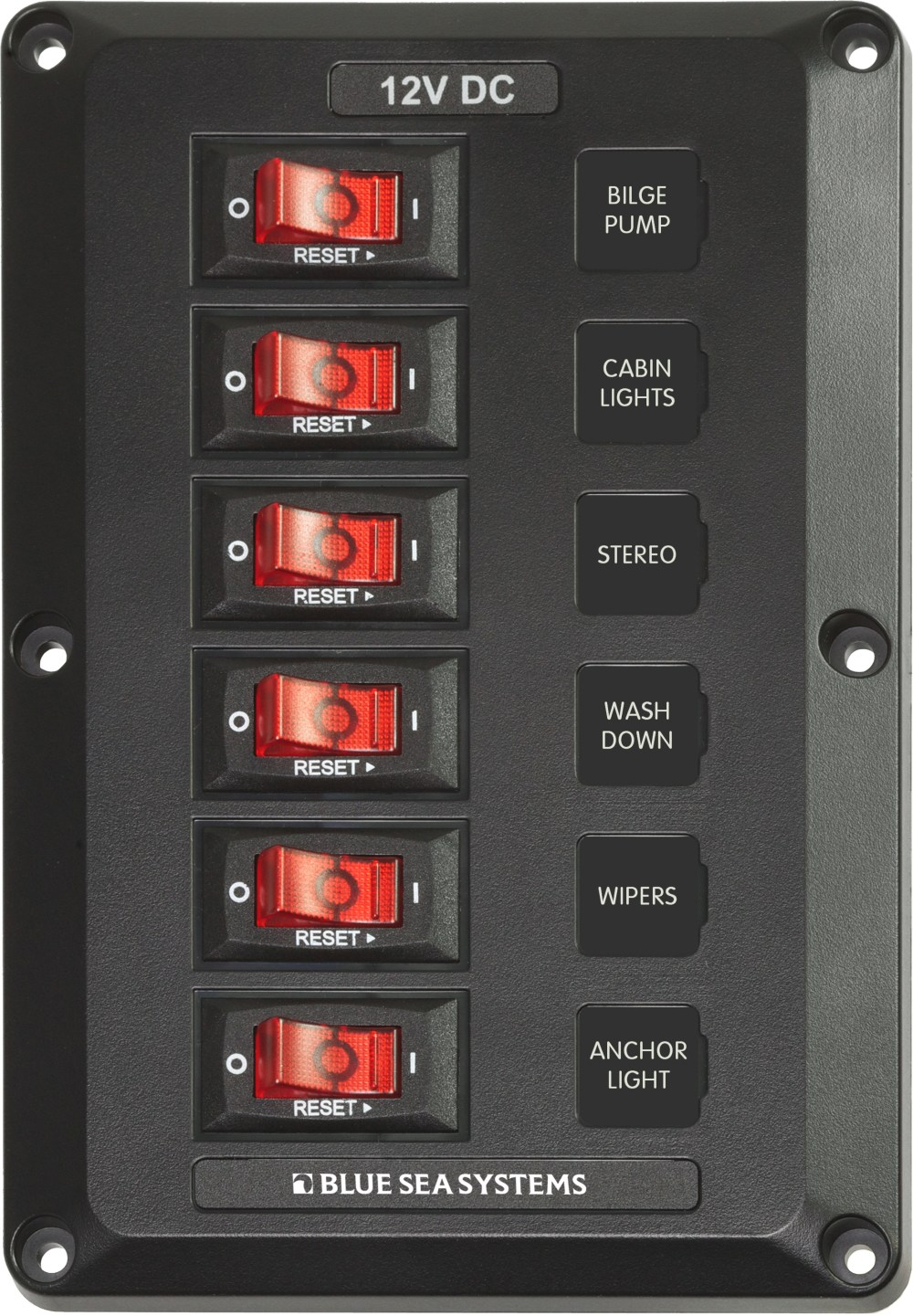 medium resolution of 6 position belowdeck circuit breaker panel blue sea systems blue sea fuse block marine switch fuse box