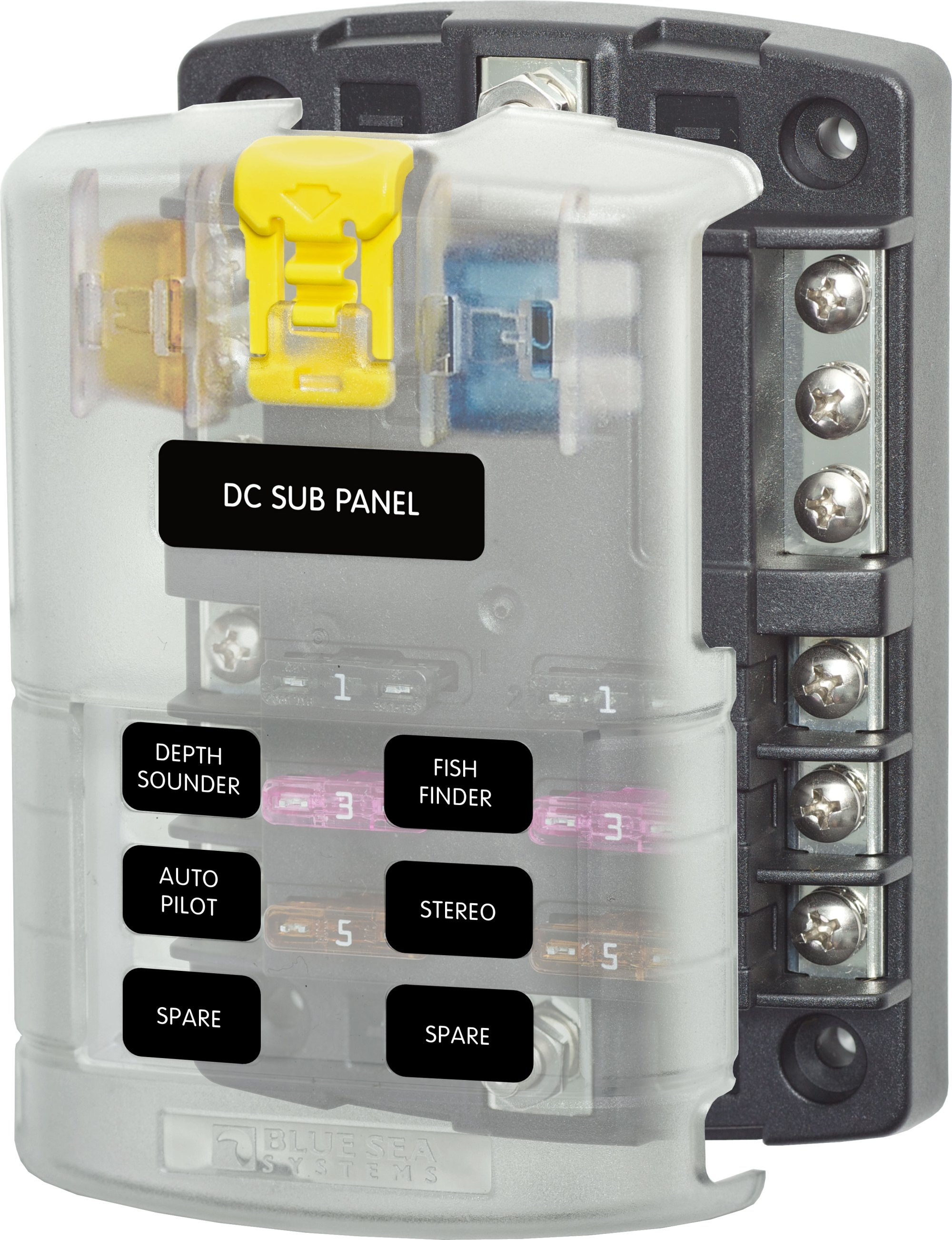 hight resolution of st blade fuse block 6 circuits with negative bus and cover blue boat fuse panel fuse box for small boat