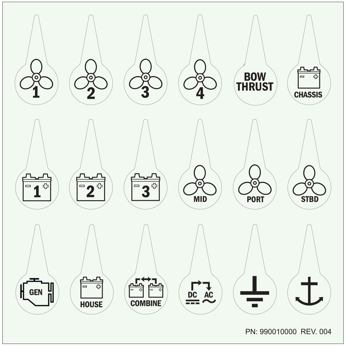 Battery Switch Icon Label Kit