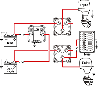 blue sea add a battery wiring diagram 150cc scooter management schematics for typical applications house is shared with one engine in reserve