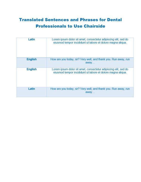 Translated Dental Phrases