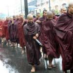 wet monks during the rains