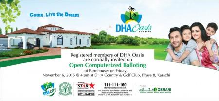 Balloting Of DHA Oasis Karachi On 6th November 2015 DHA