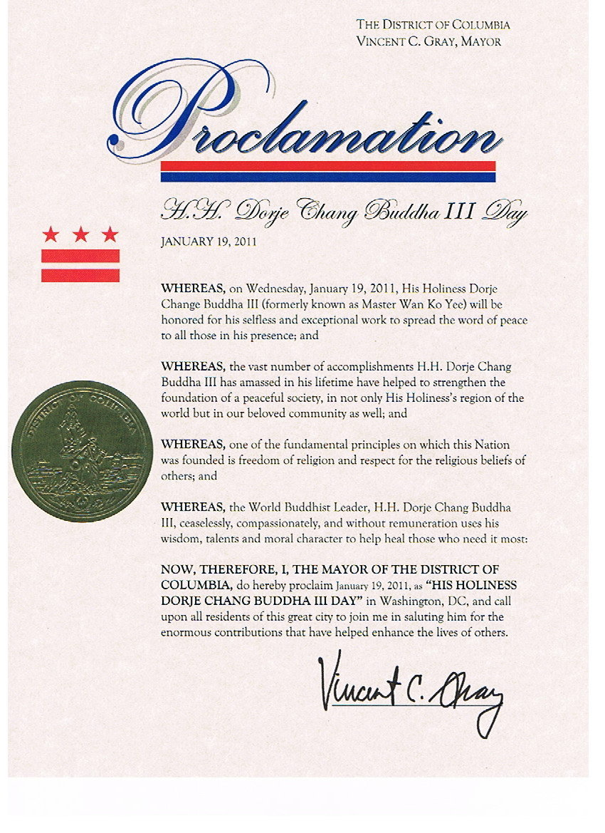 HH Dorje Chang Buddha III Day- Proclamation