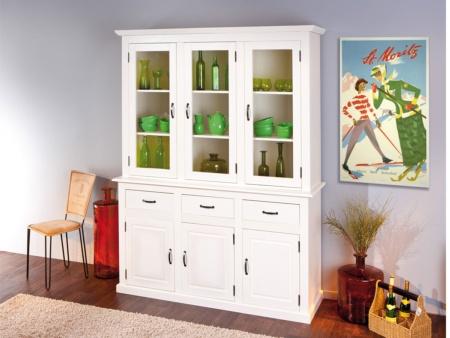 Aparador de comedor blanco con puertas cajones y estantera