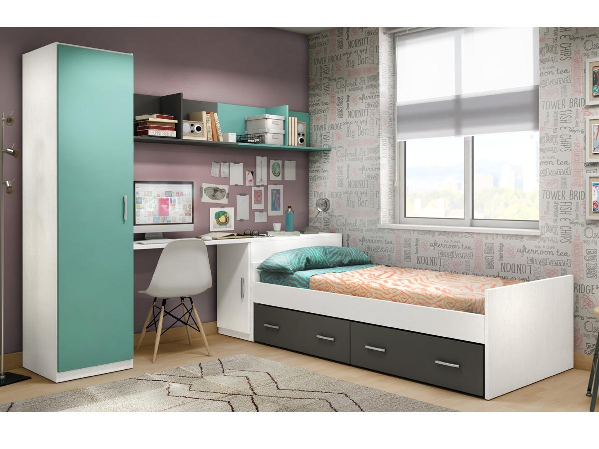Habitacin juvenil con cama y arcn de mueble zapatero