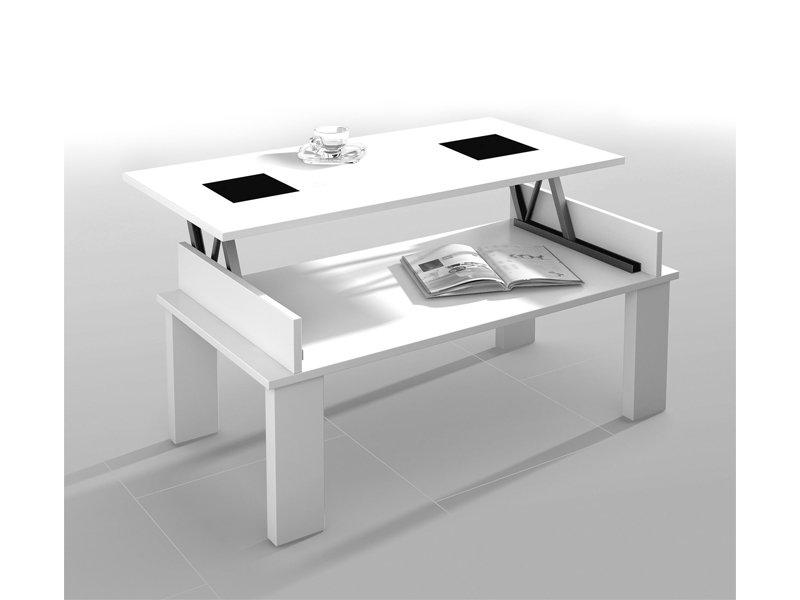 Mesa de centro elevable para saln en madera nogal 110x47x60