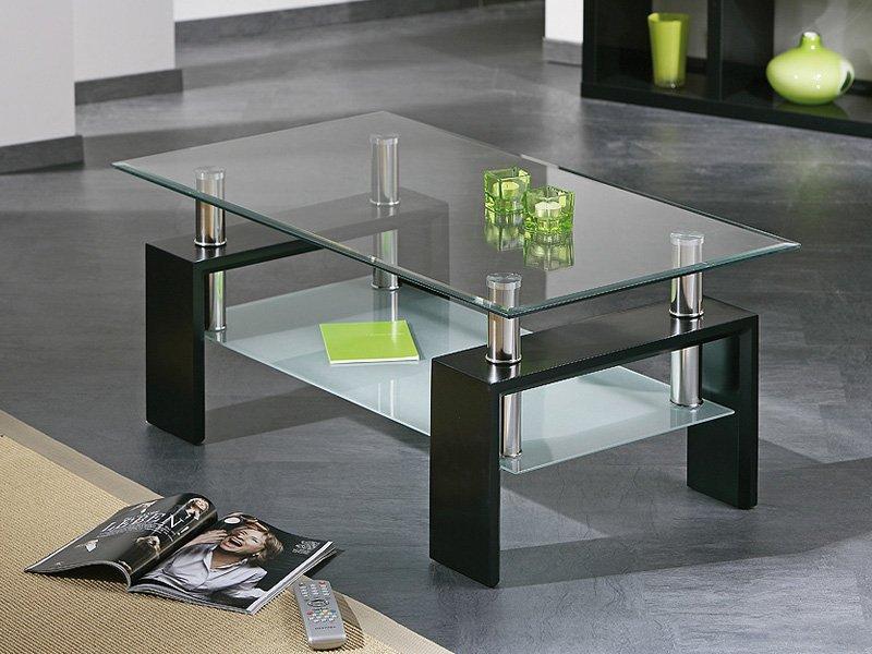Mesa de centro elevable de cristal con encimera y bandeja