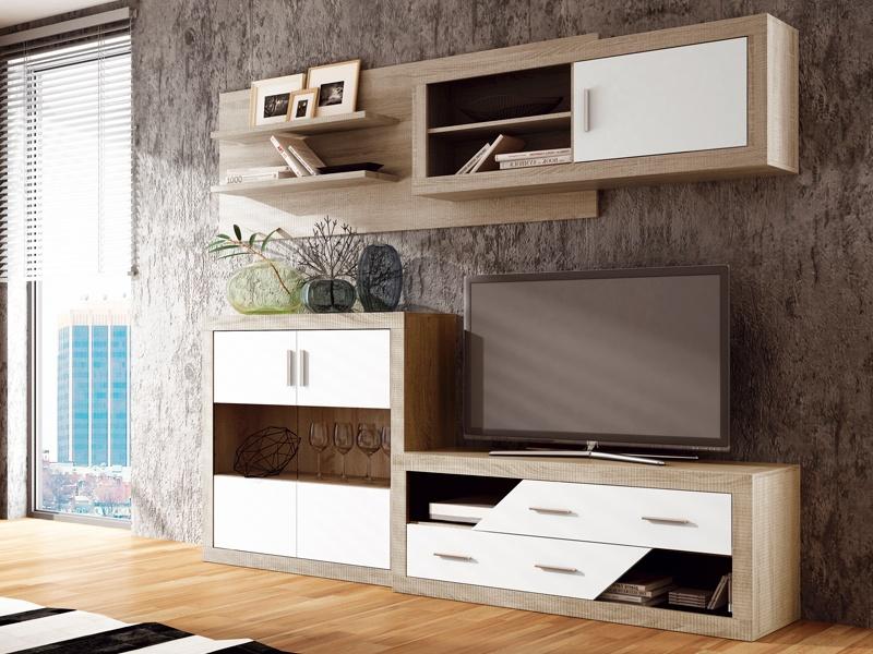 Muebles saln comedor de color roble y blanco modulares