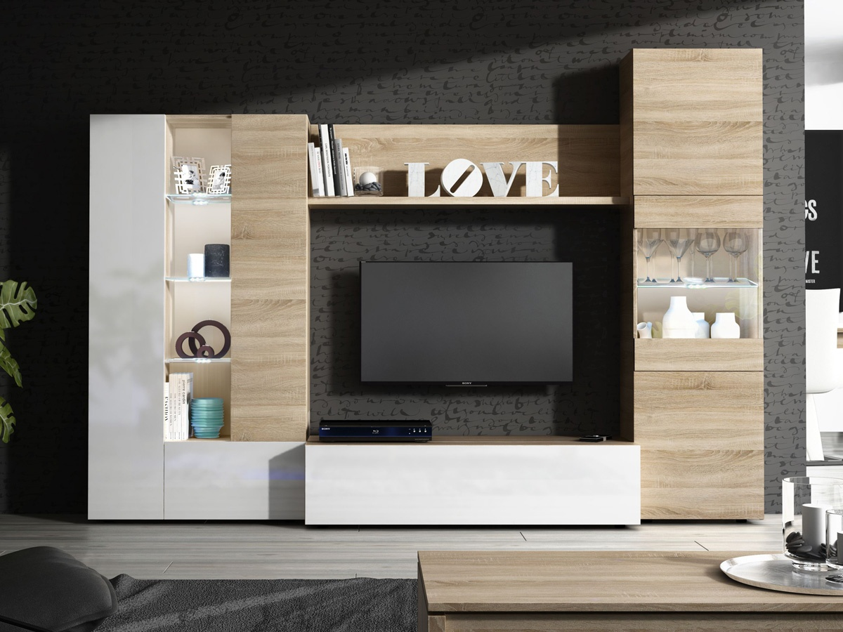Composicin muebles de saln apilables para tv y vitrina
