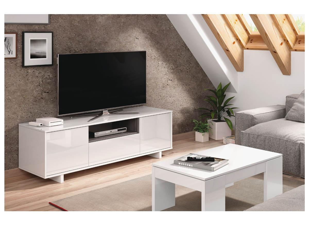 Mueble tv en alto brillo mesa televisin con acabado en blanco