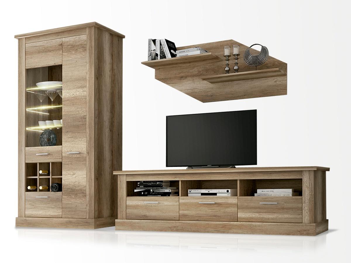 Mueble de saln modular en roble modelo para tv combinado
