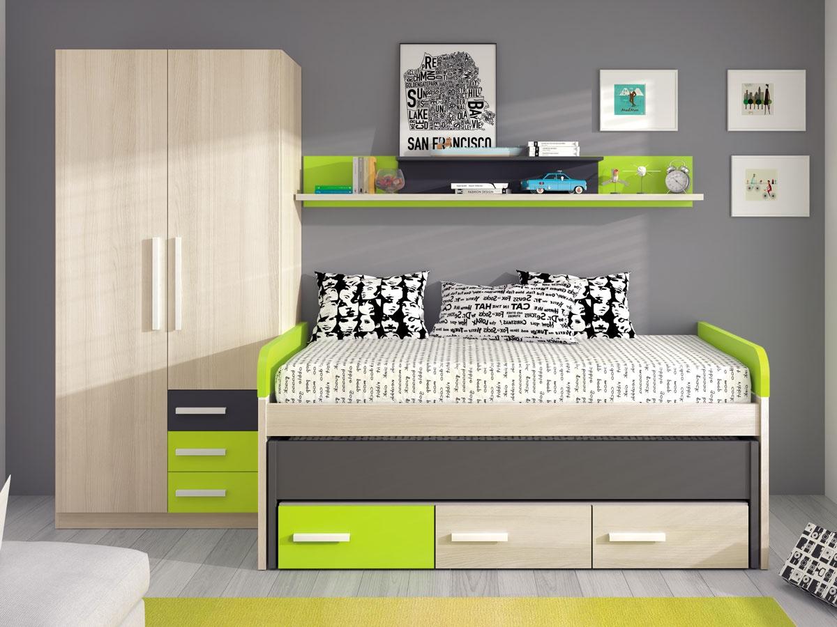 Habitacin juvenil de cama doble por piezas dormitorio