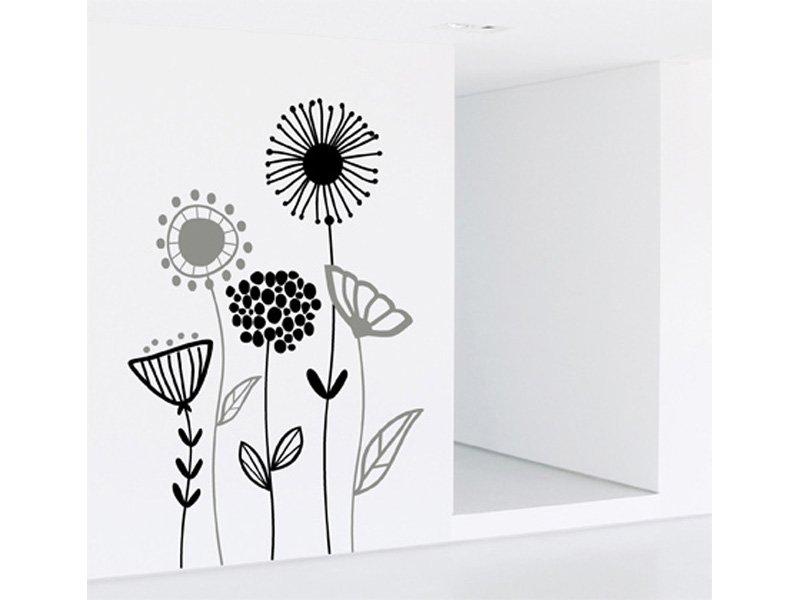 Vinilo flores pared decoracin de interior negro y gris