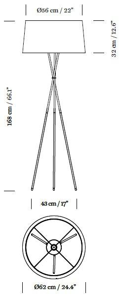 lampara de pie tripode g5 de santa & cole diseñada por el