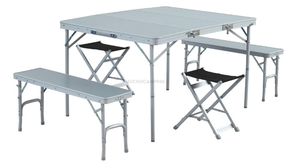 Conjunto mesa plegable  Banquetas  Accesorios Camping
