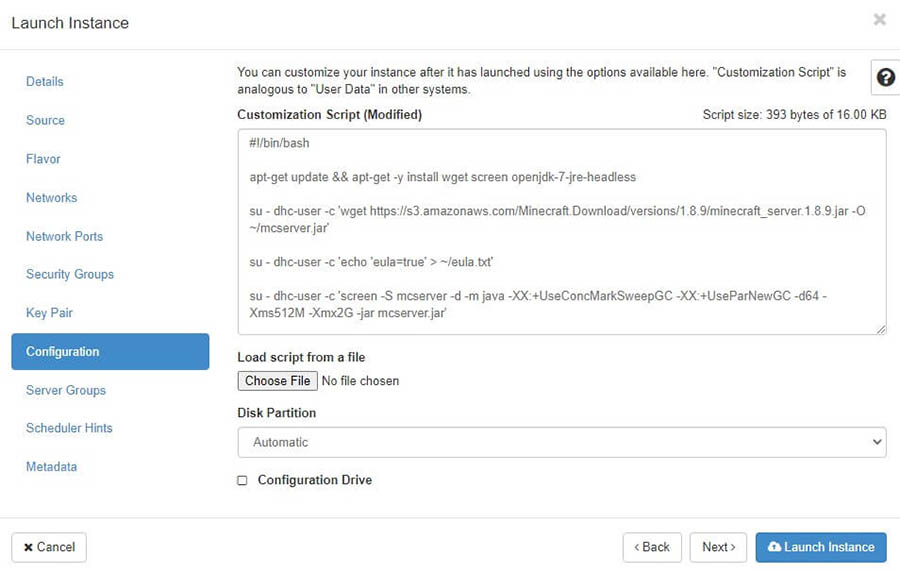 """The """"Launch Instance"""" pop-up with the """"Configuration"""" section selected."""