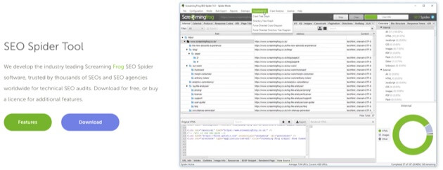 Screaming Frog SEO Spider Tool.