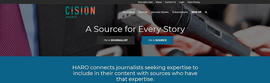 The Help a Reporter Out homepage