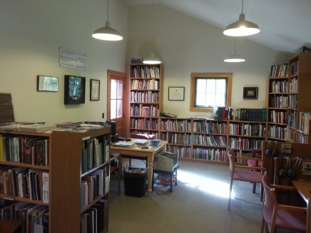 The reading room has tons of books, and stations where patrons can view videos from the collection.
