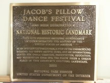In 2003 Jacob's Pillow was designated a National Historic Landmark. This is the original plaque, which the National Park Service replaced due to a typo.