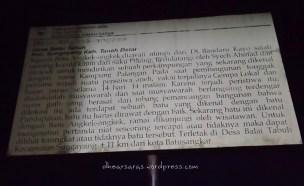 "This plank tells a short version of the ""batu Angkek-Angkek"" legend."