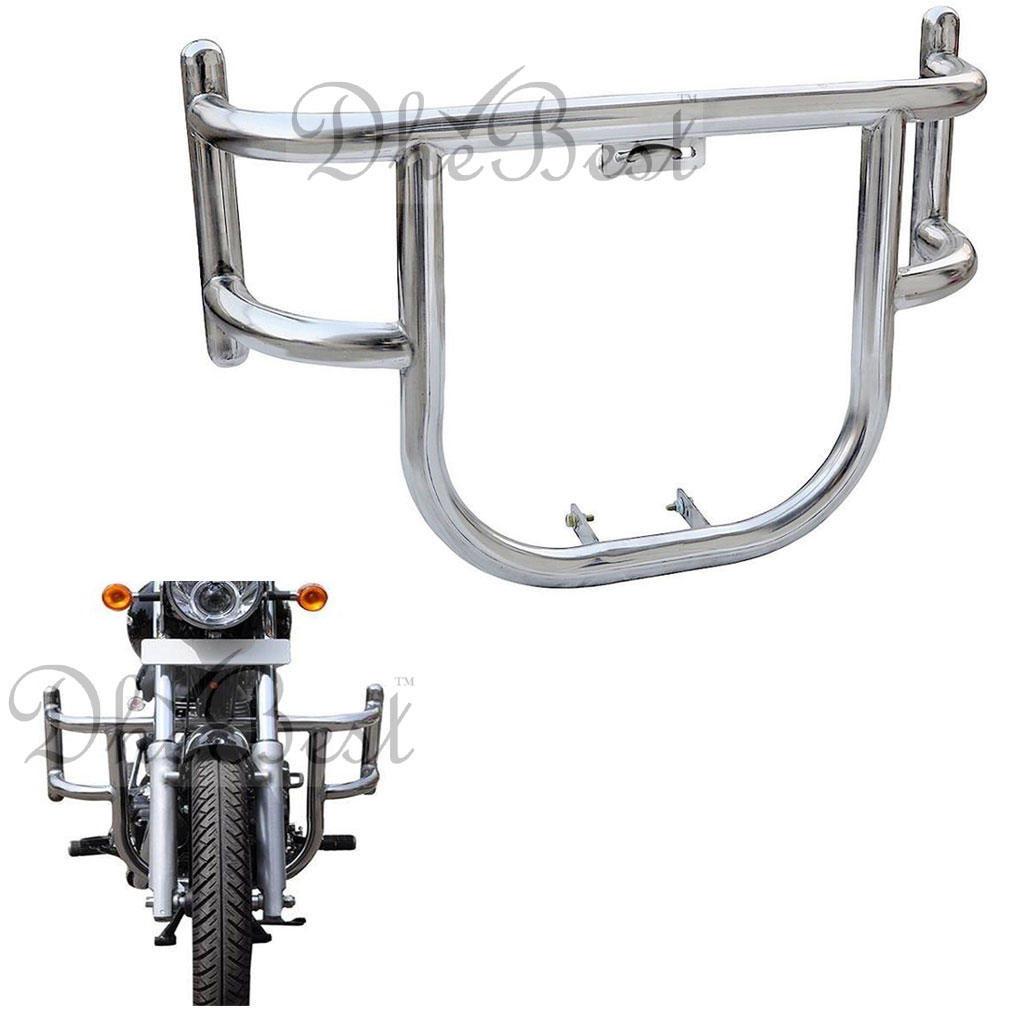 Dhe Best Heavy Duty Customized 2 Bend Bar-Rod Bullet Stylish Front Airfly  Leg Guard Safety Crash Bar Protector Safety Air Fly Guard Chrome/Silver