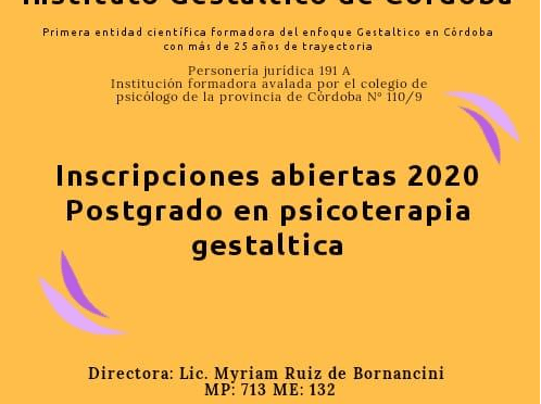 Postgrado en Gestalt en el Instituto Gestáltico de Córdoba