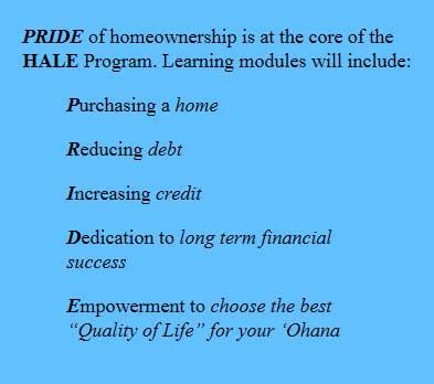 Department of Hawaiian Home Lands  HALE Program