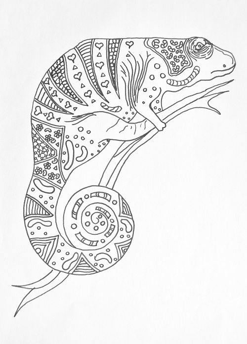 Charming Chameleon Coloring Book Page FaveCrafts