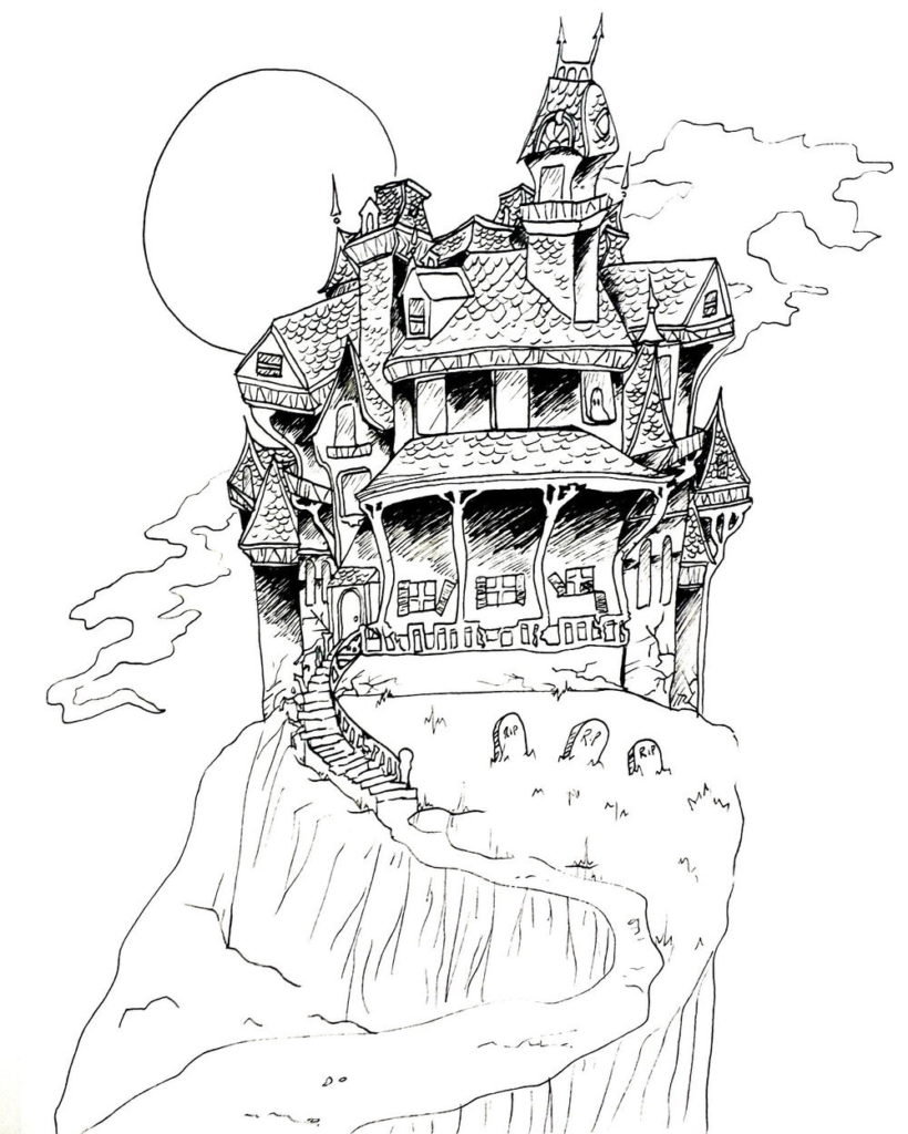 Haunted House Coloring Page : haunted, house, coloring, Spooky, Scary, Haunted, House, Coloring, FaveCrafts